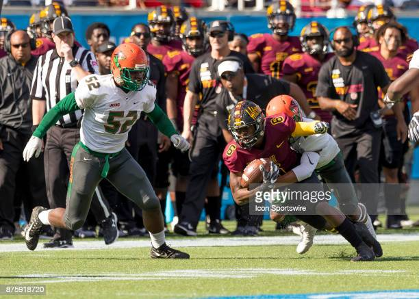 Bethune Cookman Wildcats wide receiver Keavon Mitchell fights for a first down during the football game between the Florida AM and BethuneCookman on...