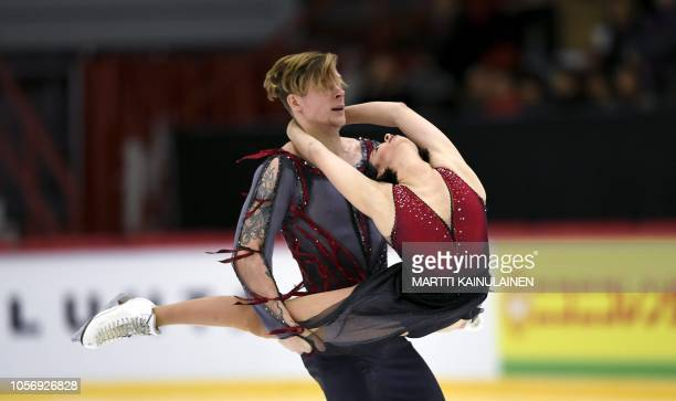 Betina Popova and Sergey Mozgov of Russia perform during the couples free dance event at the figure skating ISU Helsinki Grand Prix in Helsinki,...