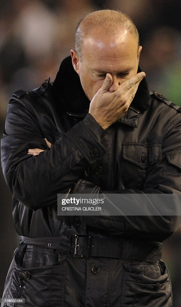 Betis' coach Pepe Mel reacts during the Spanish league football match Real Betis vs Barcelona at the Benito Villamarin stadium in Sevilla on December 9, 2012.The match 1-2.