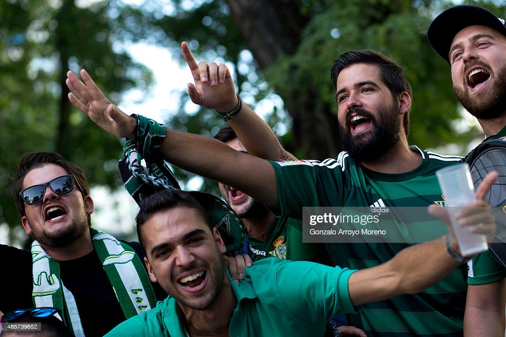 Betis fans cheer their team before the La Liga match between Real Madrid CF and Real Betis Balompie at Estadio Santiago Bernabeu outdoors on August 29, 2015 in Madrid, Spain.