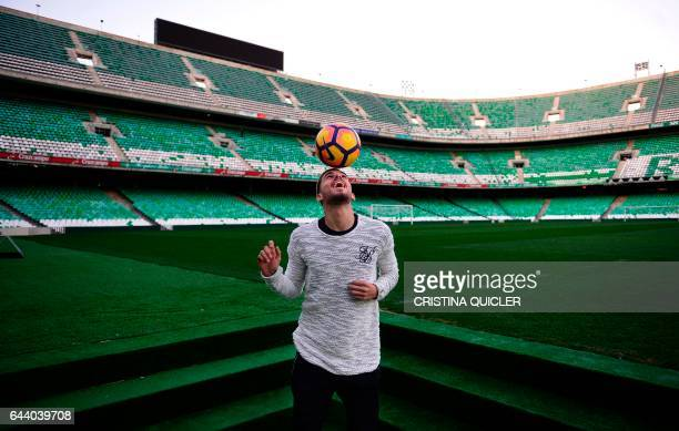 Betis' forward Dani Ceballos poses at the Benito Villamarin stadium in Sevilla on February 8 2017 those who like the Holy Week attending the...