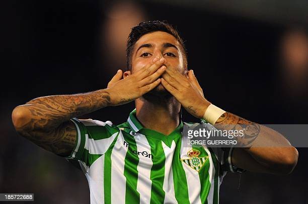 Betis' midfielder Alvaro Vadillo celebrates after scoring during the UEFA Europa league Group I football match Real Betis vs Vitoria Guimaraes at the...