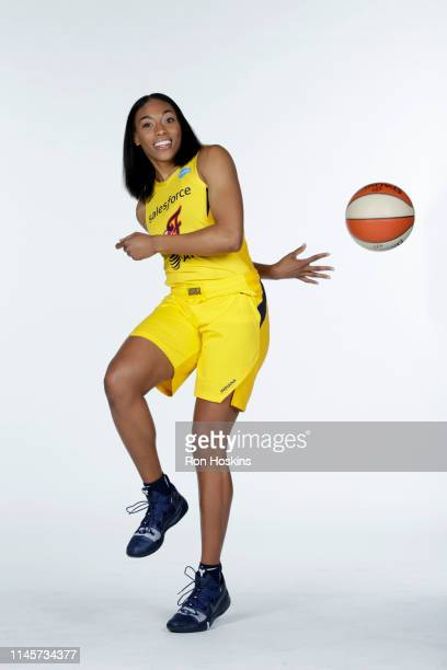 Betnijah Laney of the Indiana Fever poses for a portrait during the WNBA Media Day at Bankers Life Fieldhouse on May 20, 2019 in Indianapolis,...