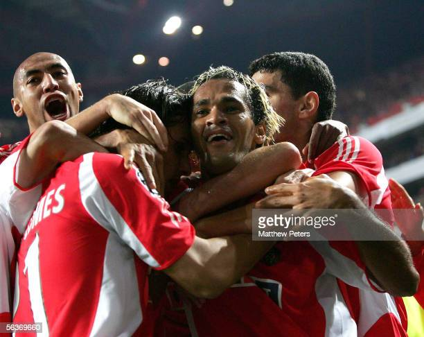 Beto of Benfica celebrates scoring their second goal during the UEFA Champions League match between Benfica and Manchester United at the Stadium of...