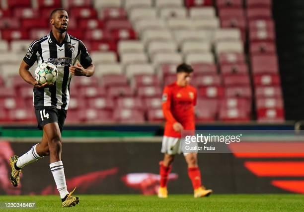 Beto of Portimonense SC celebrates after scoring a goal during the Liga NOS match between SL Benfica and Portimonense SC at Estadio da Luz on...