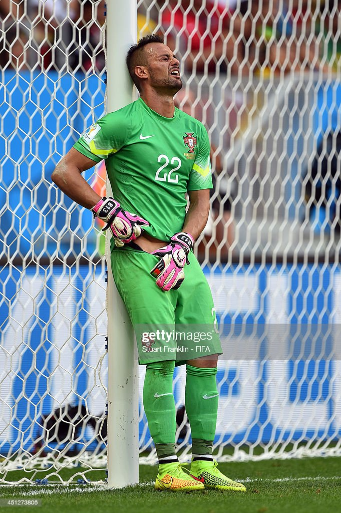 Beto of Portugal grimaces during the 2014 FIFA World Cup Brazil Group G match between Portugal and Ghana at Estadio Nacional on June 26, 2014 in Brasilia, Brazil.