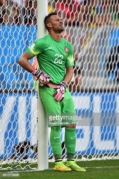 Beto of Portugal grimaces during the 2014 FIFA World Cup Brazil Group G match between Portugal and Ghana at Estadio Nacional on June 26, 2014 in...