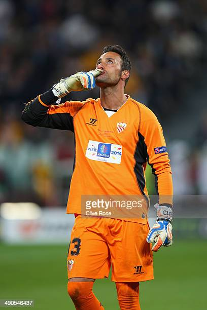 Beto of Sevilla reacts after saving a penalty in the penalty shoot out during the UEFA Europa League Final match between Sevilla FC and SL Benfica at...