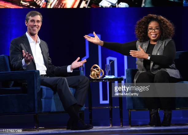 Beto O'Rourke and Oprah Winfrey speak onstage at Oprah's SuperSoul Conversations at PlayStation Theater on February 05 2019 in New York City