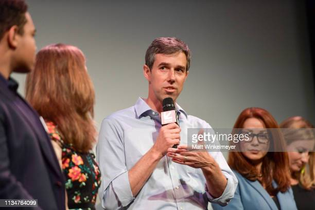 Beto O'Rourke attends the Running with Beto Premiere 2019 SXSW Conference and Festivals at Paramount Theatre on March 09 2019 in Austin Texas