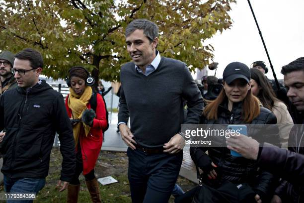 Beto O'Rourke, former Representative from Texas, arrives to speak on the sidelines of the Iowa Democratic Party Liberty & Justice Dinner in Des...