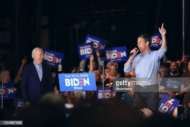 Beto O'Rourke, former Representative from Texas, right, speaks during a campaign event for former Vice President Joe Biden, left, in Dallas, Texas,...