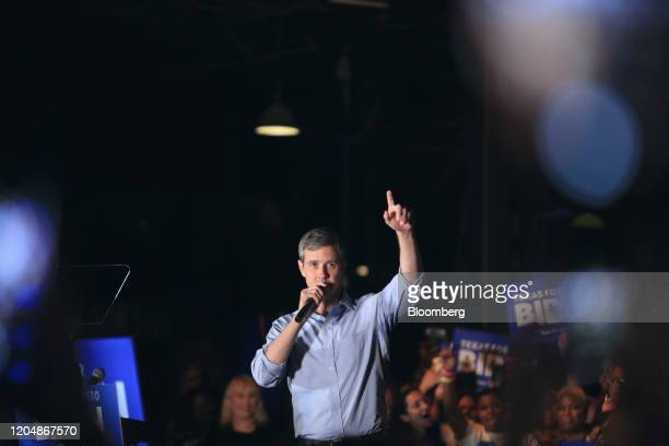 Beto O'Rourke, former Representative from Texas, speaks during a campaign event for former Vice President Joe Biden, not pictured, in Dallas, Texas,...