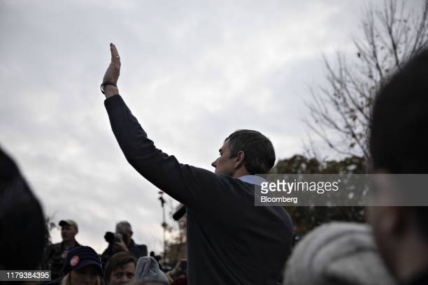Beto O'Rourke former Representative from Texas speaks on the sidelines of the Iowa Democratic Party Liberty Justice Dinner in Des Moines Iowa US on...