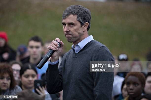 Beto O'Rourke, former Representative from Texas, speaks on the sidelines of the Iowa Democratic Party Liberty & Justice Dinner in Des Moines, Iowa,...