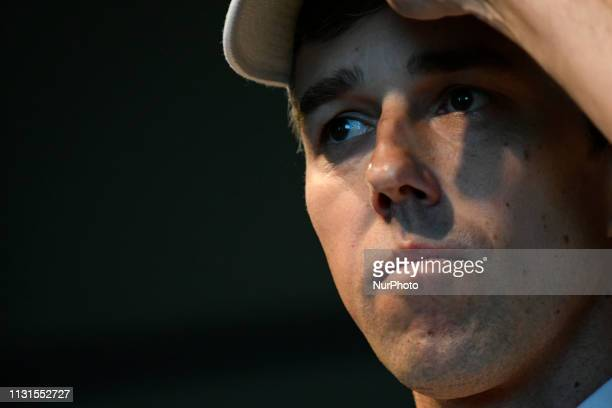Beto ORourke gives a speech during a campaign stop in State College PA on March 19 2019 The candidate from El Paso TX is the first Democratic...