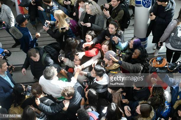 Beto ORourke greets students as he makes a campaign stop in State College PA on March 19 2019 The candidate from El Paso TX is the first Democratic...