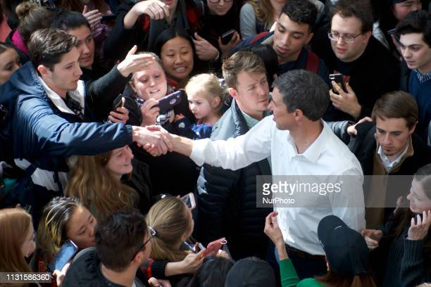 Beto ORourke greets students during a campaign stop in State College PA on March 19 2019 The candidate from El Paso TX is the first Democratic...