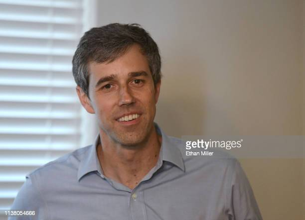 Beto O'Rourke listens to a question during a meetandgreet with the Mujeres Network at a home on March 24 2019 in Las Vegas Nevada O'Rourke is...