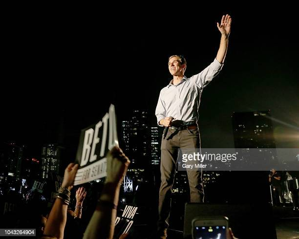 Beto O'Rourke speaks on stage during the Willie Nelson concert in support of his campaign for US Senate at Auditorium Shores on September 29 2018 in...