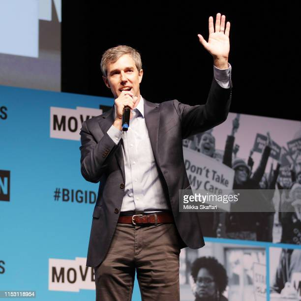 Beto O'Rourke speaks onstage at the MoveOn Big Ideas Forum at The Warfield Theatre on June 01 2019 in San Francisco California