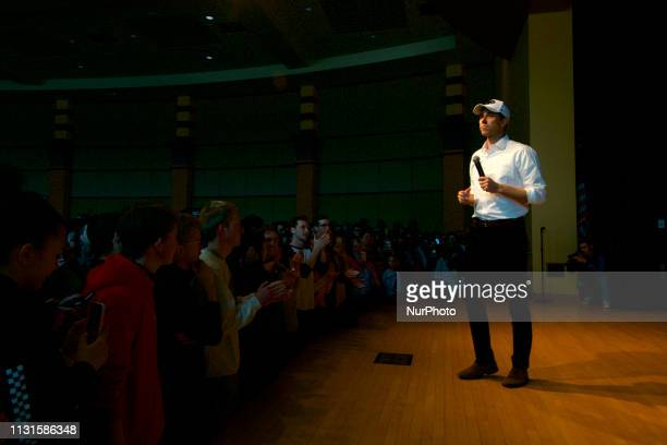 Beto ORourke takes the stage during a campaign stop in State College PA on March 19 2019 The candidate from El Paso TX is the first Democratic...