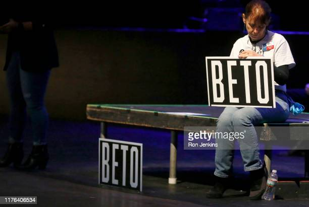 Beto supporter waits inside the Verizon Theatre where Democratic presidential candidate, former Rep. Beto O'Rourke will speak at a campaign rally on...