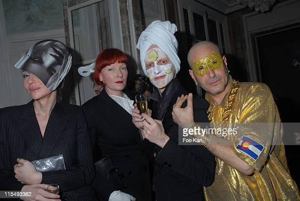 Betony Vernon A Guest Ali Mahdavi and DJ Claude Sabbah attend the Ellen Von Unwerth and Bridget Yorke Masked Birthday Party in a Private Flat Rue...