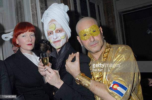 Betony Vernon Ali Mahdavi and DJ Claude Sabbah attend the Ellen Von Unwerth and Bridget Yorke Masked Birthday Party in a Private Flat Rue Francois...