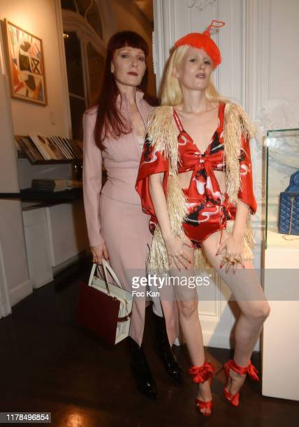 Betony Vernon and Tania from Tania and Vincent attend La Clandestine Marie Beltrami Exhibition Preview At Artcurial on October 01 2019 in Paris France