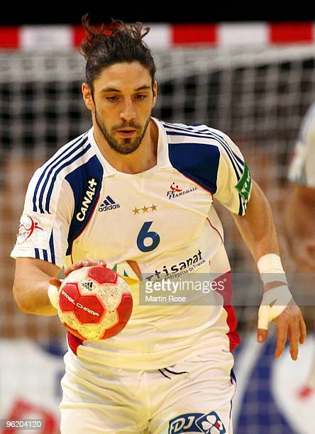 Betrand Gille of France plays the ball during the Men's Handball European main round Group II match between Slovenia and France at the Olympia Hall...