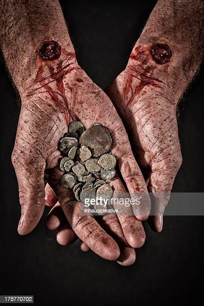 betrayal money - jesus blood stock pictures, royalty-free photos & images