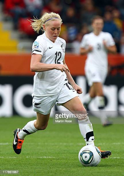 Betsey Hassett of New Zealand runs with the ball during the FIFA Women's World Cup 2011 Group B match between New Zealand and England at...