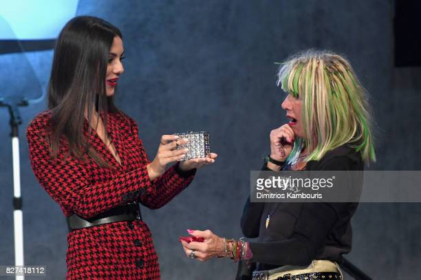 Betsey Johnson accepts the Style Icon Award from Victoria Justice onstage at the Accessories Council's 21st Annual celebration of the ACE awards at...