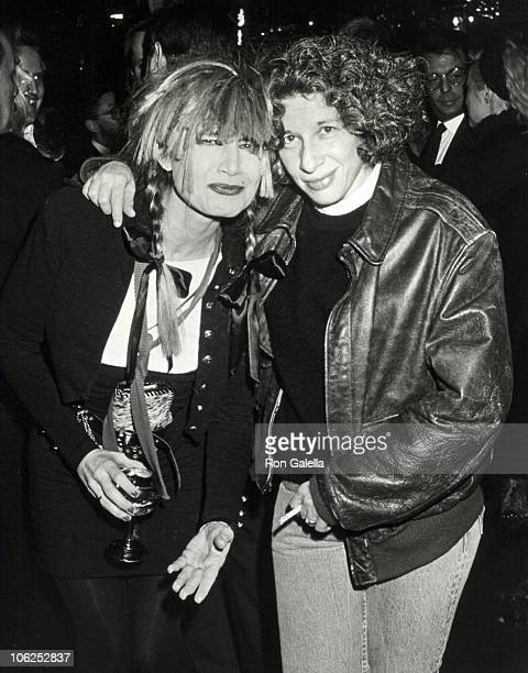Betsey Johnson and Fran Lebowitz during Night 100 Trees Gala October 25 1988 at Regine's in New York City New York United States