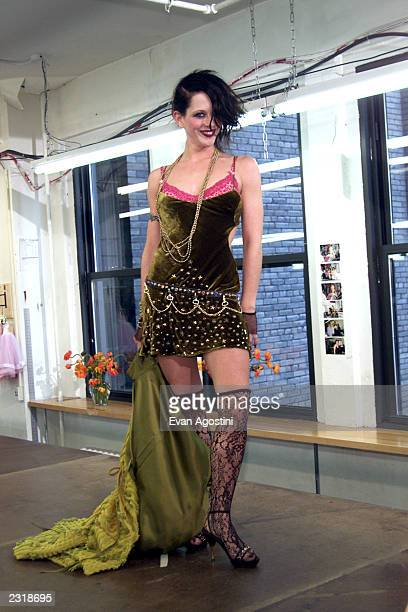 Betsey Johnson employees walk the runway at the Betsey Johnson Fall 2002 fashion show at Betsey Johnson's offices during MercedesBenz Fashion Week in...