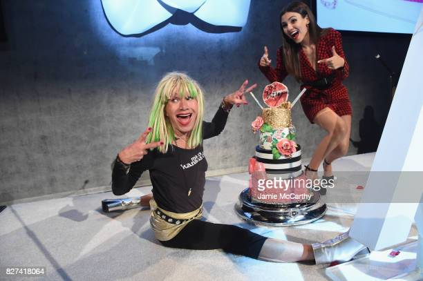 Betsey Johnson poses backstage with her birthday cake at the Accessories Council's 21st Annual celebration of the ACE awards at Cipriani 42nd Street...