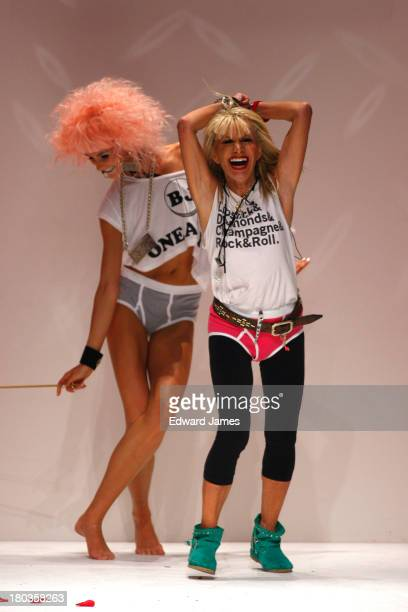 Betsey Johnson walks the runway at the Betsey Johnson show during Spring 2014 MercedesBenz Fashion Week at The Studio at Lincoln Center on September...