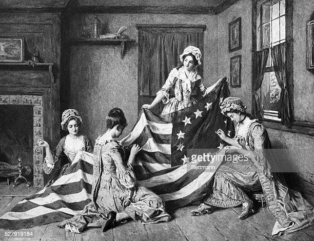 Betsey Ross sewing the American Flag