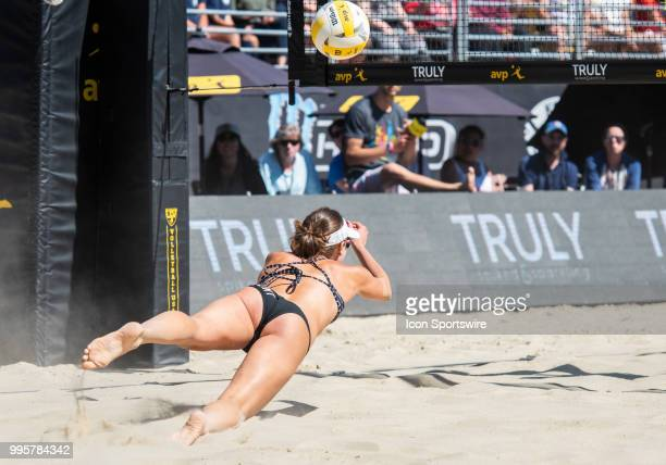 Betsi Flint gets a save with a dig in the women's Finals of the AVP Pro Beach Volleyball Tour on Sunday July 8 2018 at Pier 32 in San Francisco CA
