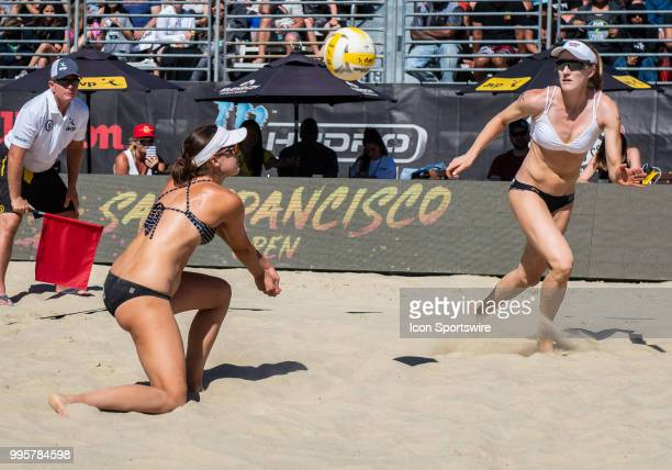 Betsi Flint sets up the ball for Emily Day in the women's Finals of the AVP Pro Beach Volleyball Tour on Sunday July 8 2018 at Pier 32 in San...