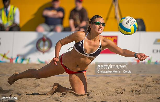 Betsi Metter of team USA vs Guatemala during the the preliminary rounds of beach volleyball competition at the 2015 PanAm Games in Toronto