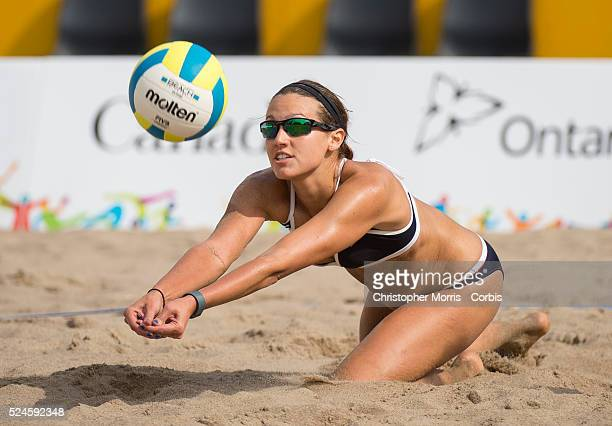 Betsi Metter of the USA during beach volleyball competition between USA and Argentina at the 2015 PanAm Games in Toronto