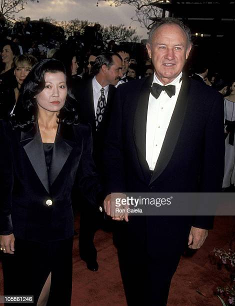 Betsy Arakawa and Gene Hackman during 65th Annual Academy Awards at Shrine Auditorium in Los Angeles California United States