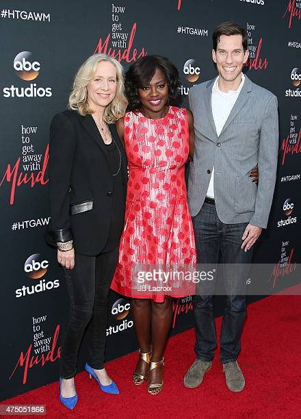 Betsy Beers Viola Davis and Peter Nowalk arrive at 'How To Get Away With Murder' ATAS event held at Sunset Gower Studios on May 28 2015 in Hollywood...