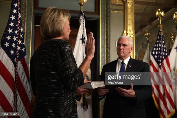 Betsy DeVos participates in a swearingin ceremony officiated by Vice President Mike Pence at the Vice President's ceremonial office at Eisenhower...