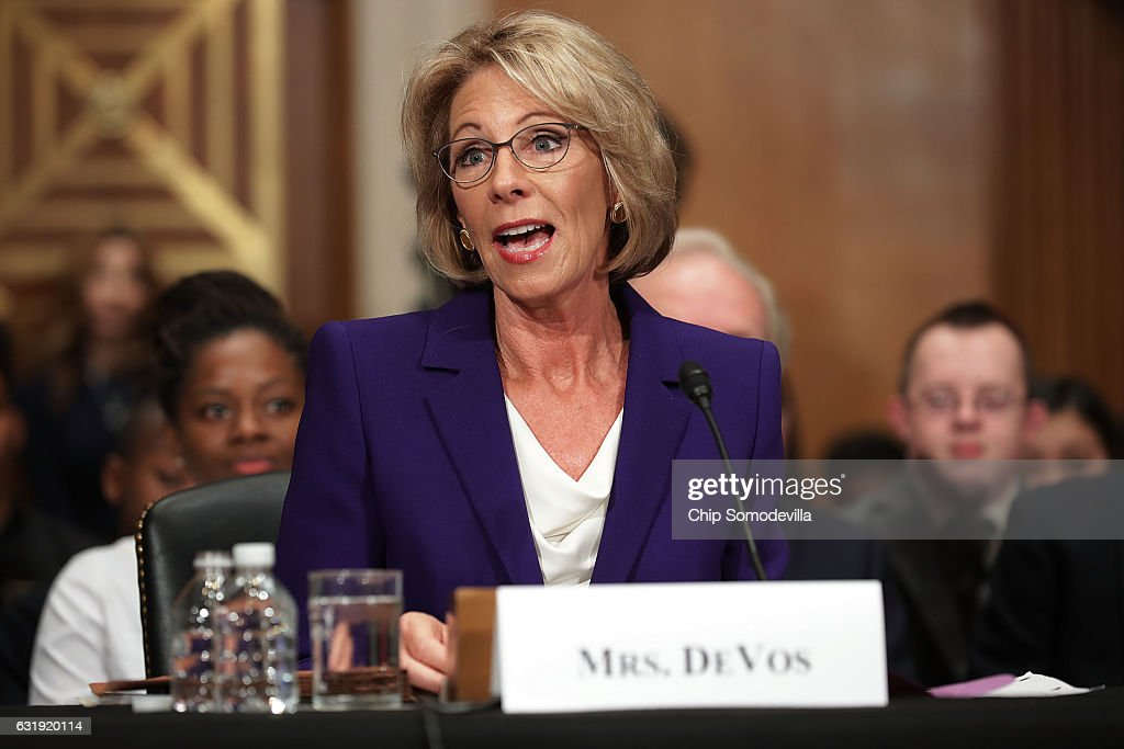Betsy DeVos, President-elect Donald Trump's pick to be the next Secretary of Education, testifies during her confirmation hearing before the Senate Health, Education, Labor and Pensions Committee in the Dirksen Senate Office Building on Capitol Hill January 17, 2017 in Washington, DC. DeVos is known for her advocacy of school choice and education voucher programs and is a long-time leader of the Republican Party in Michigan.