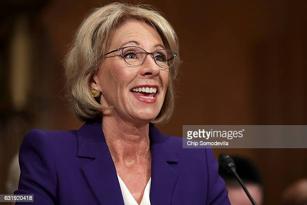 Betsy DeVos Presidentelect Donald Trump's pick to be the next Secretary of Education testifies during her confirmation hearing before the Senate...