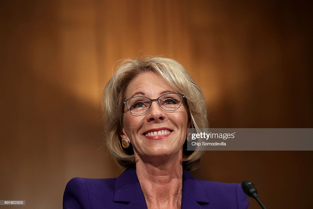 Trump's Selection For Education Secretary Betsy DeVos Testifies During Her Senate Confirmation Hearing : News Photo