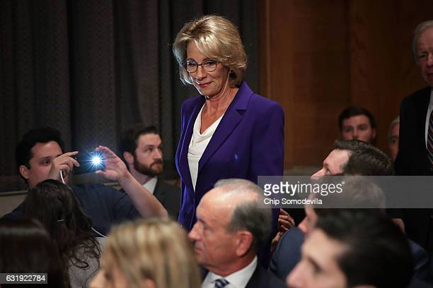 Betsy DeVos Presidentelect Donald Trump's pick to be the next Secretary of Education arrives for her confirmation hearing before the Senate Health...
